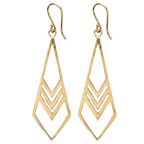 81stgeneration Frauen Messing Gold Ton Geometrische Spitz baumeln lang Ohrringe (Gold Ohrringe Aus Indien)
