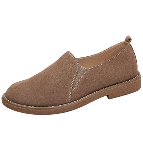 Anguang donna scarpe piatte scamosciato basse scarpe loafers mocassini casual slip on cachi 37
