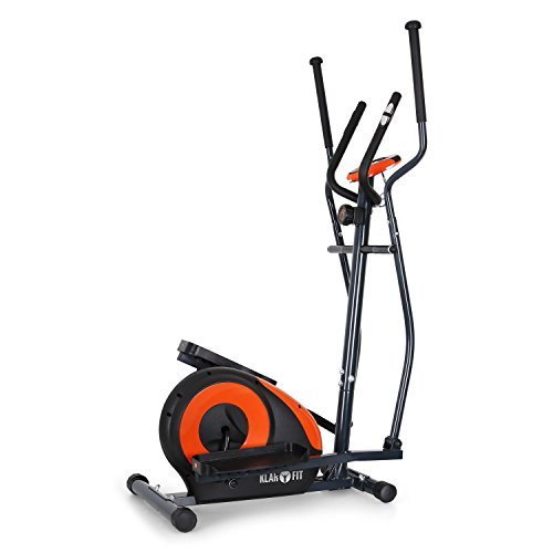 Klarfit Ellifit FX 250 - Nordic Walking Ellipsentrainer, Crosstrainer, Handpulsmesser, Trainingscomputer, 8 Stufen Widerstand, für Personen mit einem Gewicht bis 110kg, schwarz-orange