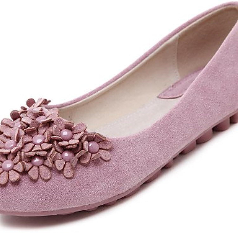 PDX/Damen Schuhe Fleece flach Ferse Komfort/Ballerina/Runde Zehen Wohnungen Kleid/Casual Schwarz/Pink/Violett