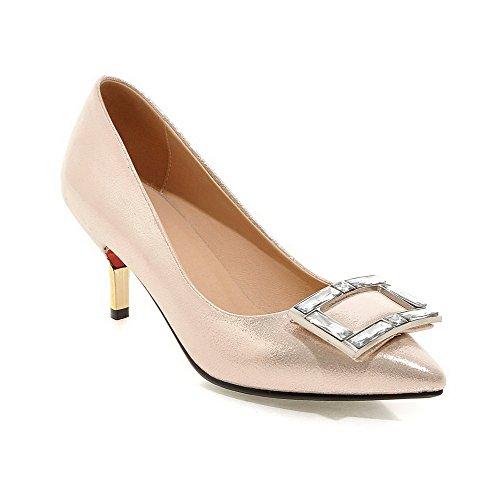 e619517d9ed58 AllhqFashion Femme Verni Tire Pointu à Talon Haut Mosaïque Chaussures  Légeres Doré