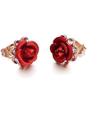 Yoursfs Zarte Damen ohrringe Rose/Lila/Blau Rock Schmuck / mit 18K Rosegold überzogene Ohrringe für Geschenk