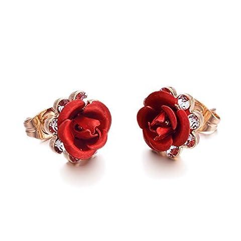 Yoursfs Cubic Zirconia Stud Earrings Women Diamond Earrings Stud Post 18ct Rose Gold Fashion Jewellery Real Flower Red Rose Earrings Bridal for Pierced