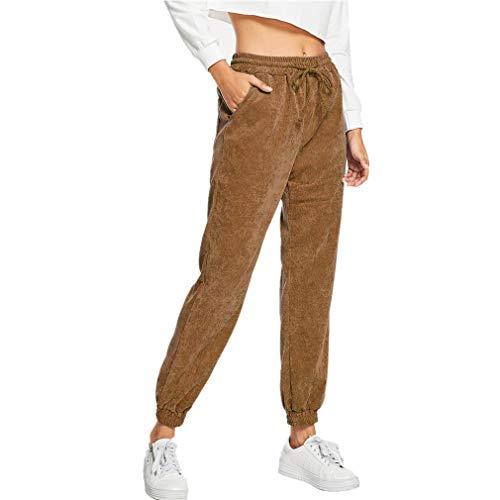 Hibote Cordhosen für Damen Mode Einfarbig Lose Hosen mit Taschen Elastischer Bund Mittlere Taille Casual Clubwear Streetwear Hosen S-XL