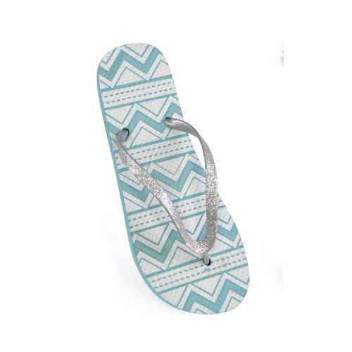 FLOSO - Tongs à paillettes et motif aztèque - Femme Bleu