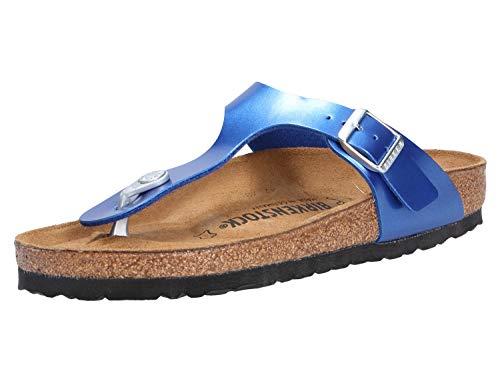 Ocean Leder Schuhe (BIRKENSTOCK Gizeh BF Electric Metallic Ocean 38)