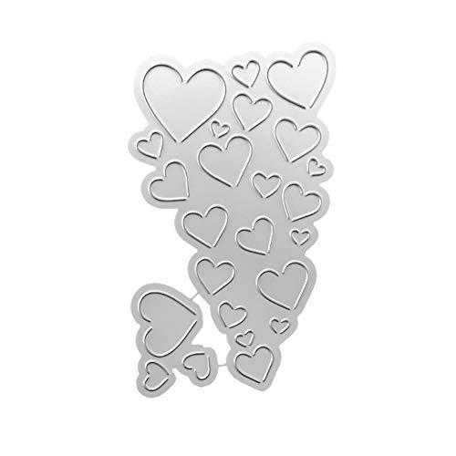illuMMW Stanzschablone Love Heart Metall DIY Scrapbooking Prägung Papier Karten Schablone Silber -