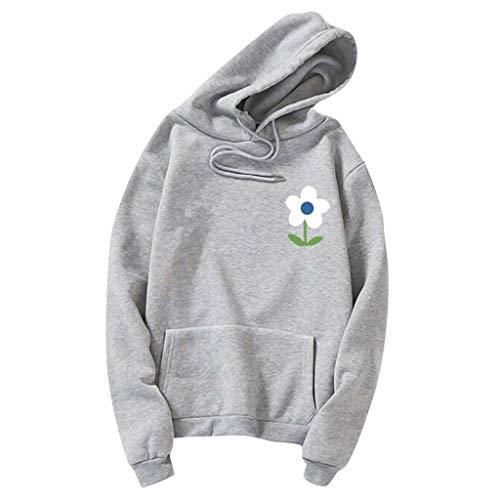 Damen Pullover Somerl Kapuzenpullover Für Damen Womens Autumn Long Sleeve Hoodie Sweatshirt Flower Print Hooded Pullover Für Frauen(Grau,XL)