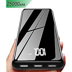 Gnceei 25000mAh Caricabatterie Portatile Power Bank - Elevata Capacità con Display LCD Digitale, 3 Uscite & 2 Ingressi Batteria Esterna Compatibile con Smartphone, Telefoni Android, Tablet e Altro