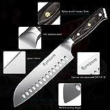 Symbom Couteau Santoku Couteau de Cuisine Couteau de Cuisine Japonais Couteau de Sushi 18cm Couteau Santoku Creux, Extra-Fort avec Lame Anti-Corrosion et Anti-Ternissement