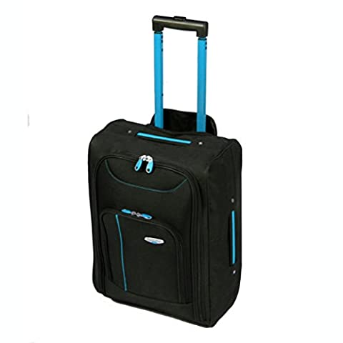 More4bagz Cabin Approved On Board Wheeled Hand Luggage Travel Trolley Flight Holdall Bag Fits Easyjet, Ryanair, BMI & Many More (Black/Blue)