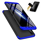 Lanpangzi für Samsung Galaxy A7 2018/A750 Hülle + Panzerglas, 360°Schutzhülle PC Hartschale 360 Grad Full-Cover Anti-Schock HandyHülle Anti-Kratz Stoßfänger Case mit Panzerglasfolie,Blau+Schwarz