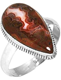 Solid 925 Sterling Silver Ring Natural Mexican Seam Agate Gemstone Fashion Jewelry Size 6