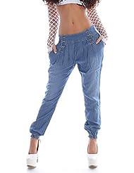 Damen Jeans Harem Hose Aladin Baggy Boyfriend Mittelblau Hüftjeans S 36 M 38 L 40 XL 42