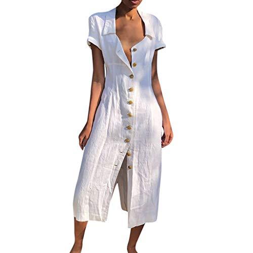Likecrazy Sommerkleid Damen Sommer Leinenkleid V-Ausschnitt Lange MaxiKleid Casual Long Dress Mode Frauen Strandkleider Button down Dress -