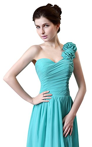 drasawee Femme une épaule à volants en mousseline de soie robe longue Fête Soirée Demoiselle d'Honneur Fuschia