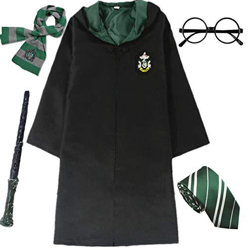 IWFREE Kostüm Umhang für Harry Potter Gryffindor Hufflepuff Ravenclaw Slytherin Set Kinder Erwachsene Cosplay Outfit Set Zauberstab Krawatte Schal Brille Karneval Verkleidung Fasching Halloween (Slytherin Kostüm)