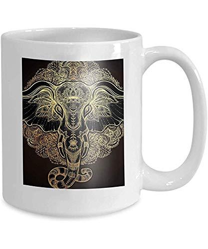 qinzuisp Becher Kaffee Tee Tasse schöne Hand gezeichnet Stammes-Stil Elefant über Mandala Design Boho Muster psychedelische Ornamente ethnischen 110z
