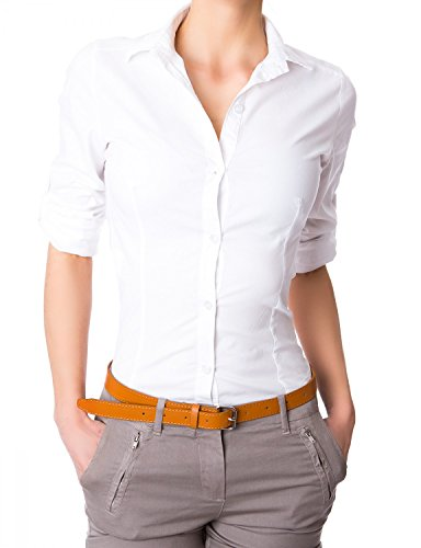 Damen elegante Figurbetonte langarm Bluse Hemd ( 510 ), Farbe:Weiß, :X-Large
