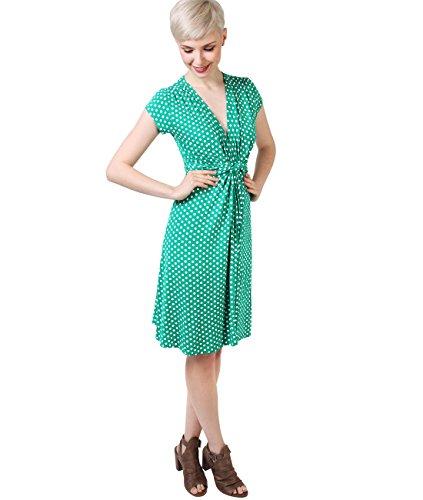 KRISP Damen Kleid 6488 Grün (Jadegrün/Weiß 18)