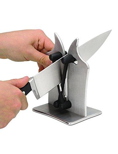 Bavarian Edge Kitchen Neue Messerschärfer-Profi-Küche Messerschärfer Stahl mit zwei verstellbaren Kanten für Schärfen, für gezackte Standardfase und verschiedene Arten von Klingen, poliert gezackt, abgeschrägt, Standard Blades (1)