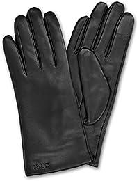 Navaris gants tactiles en cuir véritable souple pour femme - cuir d'agneau avec doublure en cachemire
