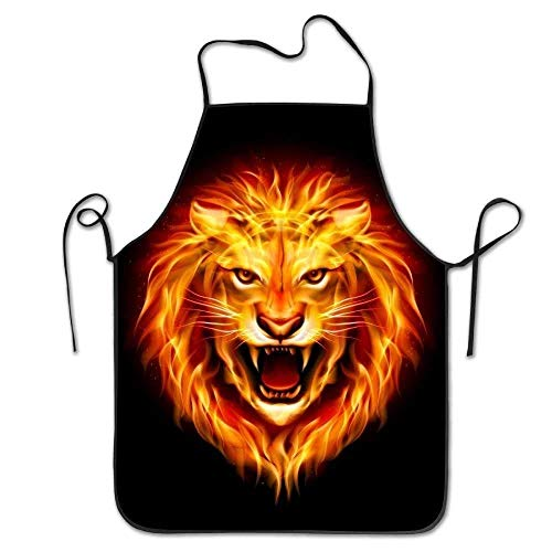 SPHGdiy Head of Aggressive Fire Lion Deluxe Personalized Kitchen Apron Deluxe Lion Head
