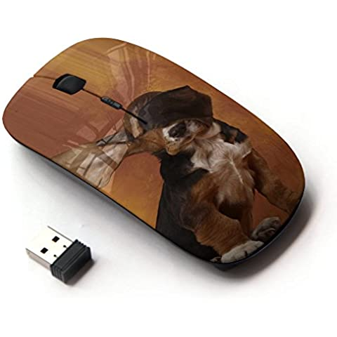KawaiiMouse [ Mouse Senza Fili Ottico 2.4G ] Dog Long Ears Basset Hound Brown Puppy