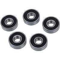 Cojinete de bolas - SODIAL(R)5 pzs Tono de plata y negro 608RS 8x22x7mm Cojinete de bolas de ranura profunda de pantalla