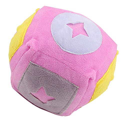 PETSOLA Plüsch Hundeballspielzeug Für Kleine Bis Mittlere Hunde Zum Spielen Langeweile Trainieren 3 Farben Erhältlich - Rosa