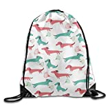 FTKLSS Kordelzugbeutel Lightweight FoldableDrawstring Gym Sport Bag Sausage Dog Dachshund Casual Travel Bag for Unisex String Backpack