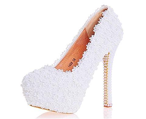 MNII Womens Flowers Dentelle MariéE Bridesmaids Court Shoes Wedding Party Evening Plateformes High Heel , 39 [leather lining] , white 14cm- bonne qualité