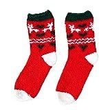 Fenverk Weihnachten Socken, 1-Paar Damen Herren Cartoon Socken Warme Weiche Korallen Slipper Socken Erwachsene Weihnachtsgeschenk (C)