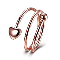 Lekima Heart Bead Multi Cercle Line Ring Open Adjustable Copper Charm Romantic Valentine's Day Engagement Wedding Band Gift Jewellery Women - Rose Gold #L 1/2 (Gift Bag Included)