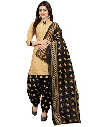 Rajnandini Women\'s Cotton Printed Patiala Unstitched Dress Material(JOPLRP710_Beige_Free Size)