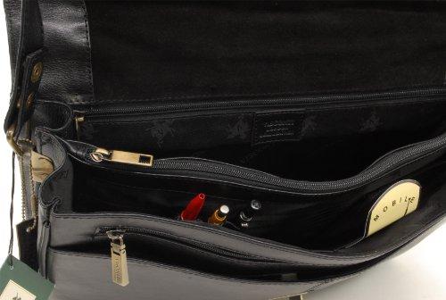 Visconti Schwarz Leder Aktentasche / Umhängetasche A4 (18074) - Größe: B: 40 H: 27 T: 11 cm Schwarz