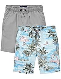 next Niños Pack De Dos Pantalones Cortos Estampado Flamenco/Gris Shorts Corte Estándar