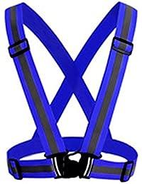 QUICKLYLY Chaleco Seguridad Reflectante Elástico Seguridad Reflectante Cinturon Cruzado Visibilidad Correa Banda Arnes Faja Cinturon Correr