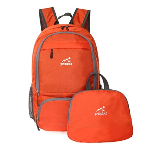 Bergsteigen Paket faltbare Schulter-Beutel helle Haut Tasche Paar im Freien Rucksack Wasserdichte tragbare Reise Orange