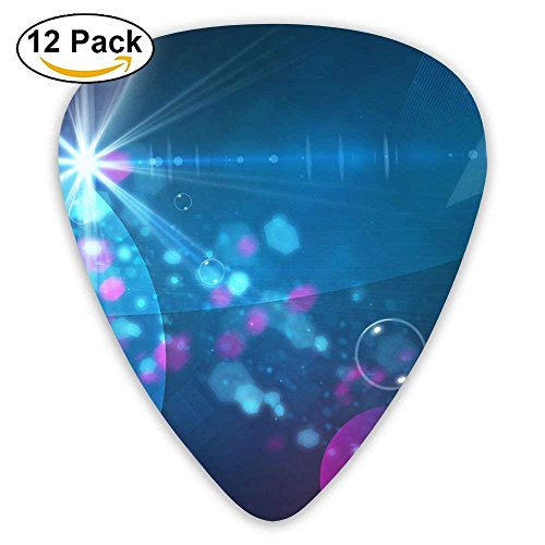 12-Pack Custom Guitar Picks Circles Glitter Line Standard Bass Guitarist Music Gifts Glitter Line
