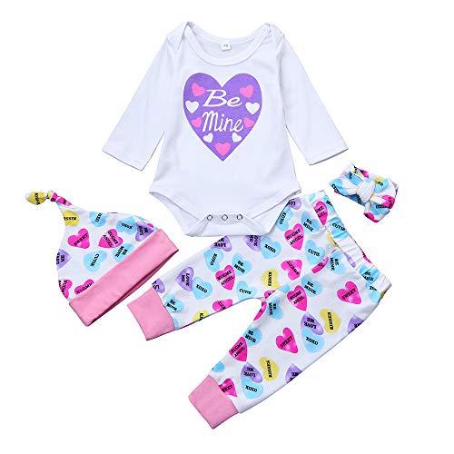 (Neugeborenes Babybekleidung Kleinkind Baby Jungen Mädchen Outfits 4PCs Bio-Baumwolle Bekleidungssets Brief Herzen Strampler Hosen 4pcs Kleidung Set 0-24 Monate Felicove)