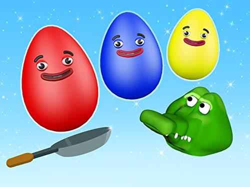 Lernen Sie Farben mit Eiern, Krokodil und Bratpfanne