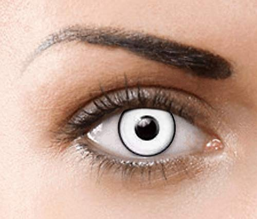 PHANTASY Eyes® Farbige Kontaktlinsen, Ohne Stärke (MANSON WHITE) Weisse Devil/Zombie perfekt zum Halloween und Karneval, Jahres Linsen, 1 Paar crazy fun Contact linsen + Kontaktlinsenbelälter!