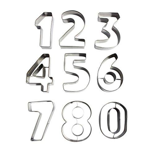 Kinder Zahlen 0 8 Alphabet Buchstaben Ausstechformen Ausstecher Set Plätzchenformen aus Edelstahl Metall perfekt für Keks,Backen Fondant Plätzchen,Tortendekorationen (Zahlen) (Halloween-cookie-teig)