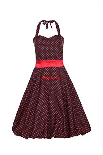 ROBLORA Robe de Soiree cocktail,Robe De Bal Style Années 50, Rockabilly, Swing, Parfaite Pour Soiree Dansante AN19501 noir pois rouge
