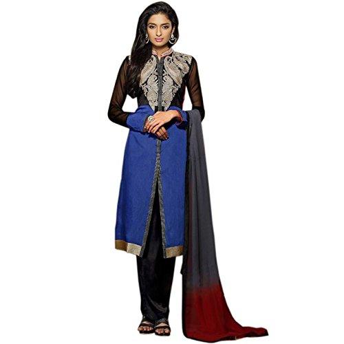 Vasu Saree For Women Blue Chanderi Cotton Designer Pakistani Suit