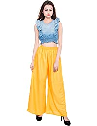 CAY Yellow Color Solid Stylish Plazzo With Elastic Waist And Western Wear ( SIZE : FREE SIZE )
