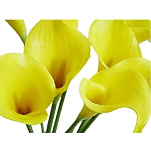 DAYAN 5pcs Elegante vero tocco realistico artificiale PU Calla Lily fiore bouquet da sposa da sposa mazzi di fiori colore giallo