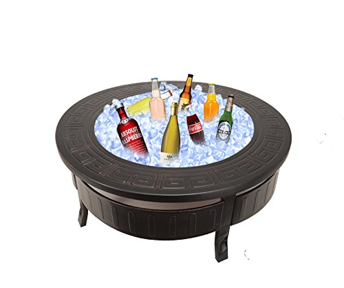 RayGar 3 in 1 Round Fire Pit BBQ Ice Pit Patio Heater Stove Brazier Metal Outdoor Garden Firepit + Protective Cover FP34 – New