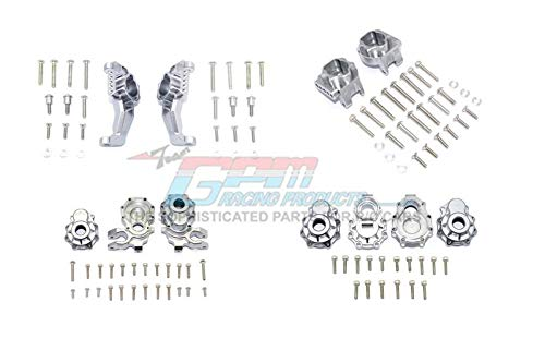 G.P.M. Traxxas TRX-4 Defender / Tactical Unit / Ford Bronco / Blazer Tuning Teile Aluminum Front + Rear C Hub, Rear Gear Box Mounts, Front + Rear Knuckle Arms - 104Pc Set Gray Silver